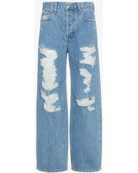 Jonathan Simkhai - Wide Leg Distressed Jeans - Lyst