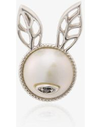 Yvonne Léon - Rabbit Ears Stud With White Gold, Pearl And Black Diamond - Lyst