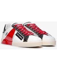 Dolce & Gabbana - White, Black And Red Portofino Leather Sneakers - Lyst
