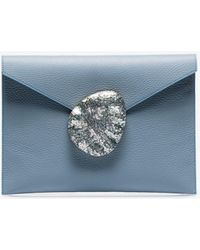 Nathalie Trad - Blue Rene Shell Clasp Fold Over Leather Clutch - Lyst
