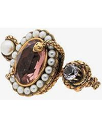 Alexander McQueen - Snake Jewelled Dual Ring - Lyst