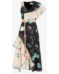 Peter Pilotto - Asymmetric Floral Dress - Lyst