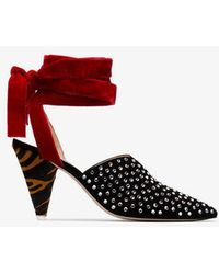 Attico - Black, Red And Brown Velvet Ankle Tie Crystal Embellished 90 Suede Court Shoes - Lyst