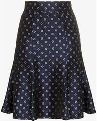 N-Duo - Flower And Polka Dot Printed High-waisted Skirt - Lyst