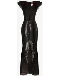 Ronald Van Der Kemp - Sleeveless V-neck Ruffle Cutout Gown - Lyst