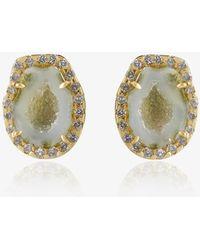 Kimberly Mcdonald | Green Geode Stud Earrings With Diamonds | Lyst