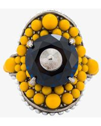 Gucci - Yellow And Orange Studded Bronze Multi-beaded Ring, Size: 45 - Lyst