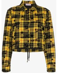 Palm Angels - Tartan Logo Print Cropped Virgin Wool Jacket - Lyst