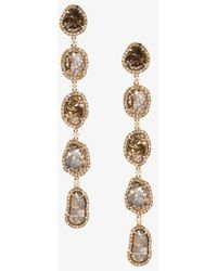 Saqqara - Long Sliced Diamond Drop Earrings - Lyst