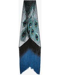 Rockins - Black Peacock Eyes Sequin Fringe Scarf - Lyst