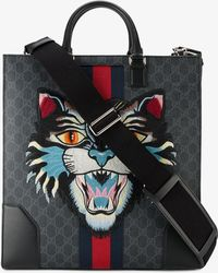 Gucci - Angry Cat Embroidered Monogram Print Tote - Lyst