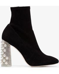 Sophia Webster - Felicity 100 Suede Crystal Heel Boots - Lyst