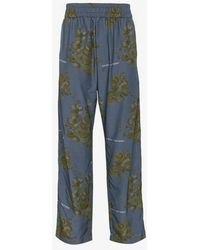 Off-White c/o Virgil Abloh - X Browns Blue Floral Print Cotton Blend Trousers - Lyst