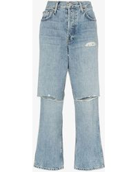 RE/DONE Low Slung Cropped Jeans With Slashed Knee