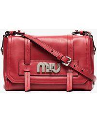 Miu Miu - Red Logo Buckle Leather Satchel Bag - Lyst