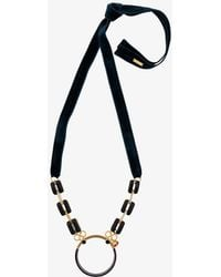 Marni - Metal Hoop Necklace With Beaded Ribbon - Lyst