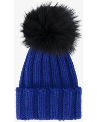 Inverni - Blue Ribbed Cashmere Hat With Fur Pom Pom - Lyst