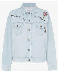 Mira Mikati - Denim Cotton Jacket With Embellished Sheer Back Panel - Lyst