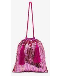Attico - Pink Sequin Tassel Silk Pouch - Lyst