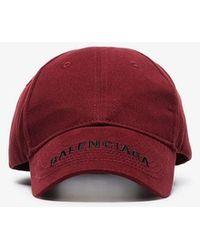 Balenciaga - Burgundy Logo Embroidered Baseball Cap - Lyst