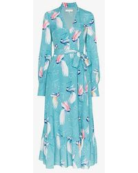 Borgo De Nor - Bird Printed Belted Long Dress - Lyst