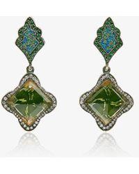 Sevan Biçakci - Gold Drop Earrings With Garnets And Pavé Diamonds - Lyst