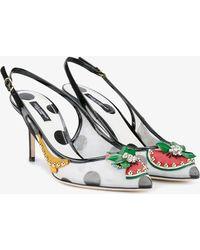 Dolce & Gabbana - Fruit Embellished Kitten Heel Slingback Pumps - Lyst