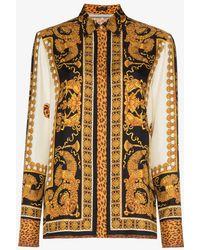 Versace - Black Gold Silk Print Shirt - Lyst