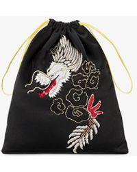 Attico - Satin Dragon Embroidered Pouch - Lyst