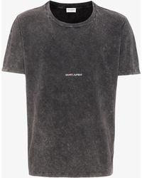 Saint Laurent - Distressed Logo T-shirt - Lyst