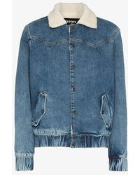 Filles A Papa - Janis Faux Shearling Collar Denim Jacket - Lyst