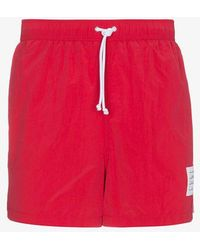 Thom Browne - Red Swim Shorts With Stripe Detail - Lyst