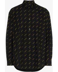 Balenciaga - All-over Logo Print Cotton Shirt - Lyst