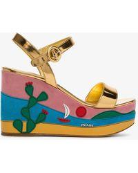 Prada - Multicoloured 105 Cactus Leather Wedge Sandals - Lyst