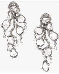 Saqqara - 18kt White Gold And Diamond 'flow' Earrings - Lyst