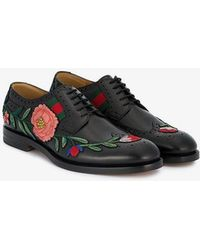 Gucci - Floral Embroidered Brogues - Lyst