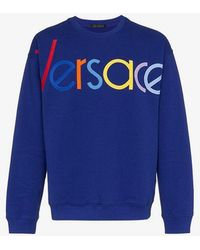 Versace - Blue Logo Embroidered Jumper - Lyst