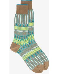 Ayamé - Green And Yellow Basket Lunch Knitted Pattern Socks - Lyst
