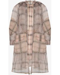 Fendi - Zipped Sheer Plaid Coat - Lyst