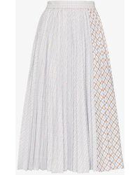 ANOUKI Pleated Check Cotton Midi Skirt - Blue