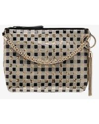 Jimmy Choo - Gold Callie Sequin-embellished Checked Clutch Bag - Lyst