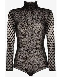 Alexia Hentsch - Sheer Polka Dot Velvet Bodysuit - Lyst