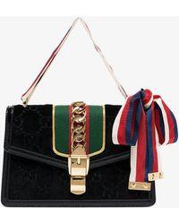 a422517fa59 Gucci - Black Sylvie GG Velvet Small Shoulder Bag - Lyst