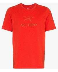Arc'teryx - Red Logo Printed Crew Neck Cotton T-shirt - Lyst