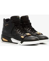 Versace - Black Leather Hightop Sneakers - Lyst