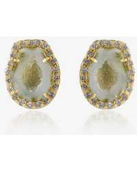 Kimberly Mcdonald - Green Geode Stud Earrings With Diamonds - Lyst