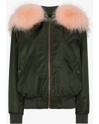 Mr & Mrs Italy - Fur Trimmed Satin Bomber Jacket With Detachable Hood - Lyst