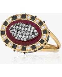 Holly Dyment - 18k Yellow Gold Glam Lip Diamond Ring - Lyst