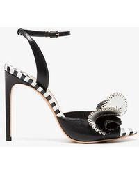 Sophia Webster - Black And White Soleil 100 Ruffle Leather Sandals - Lyst