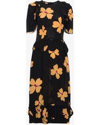 Simone Rocha - Floral Print Scallop Trimmed Silk Dress - Lyst
